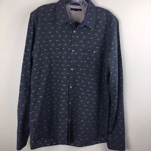 Ted Baker button down shirt navy LURES 16.5